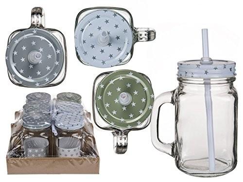 6 teiliges Trinkglas -Set Sterne 450 ml mit Henkel und Strohhalmen in Einmachglasoptik