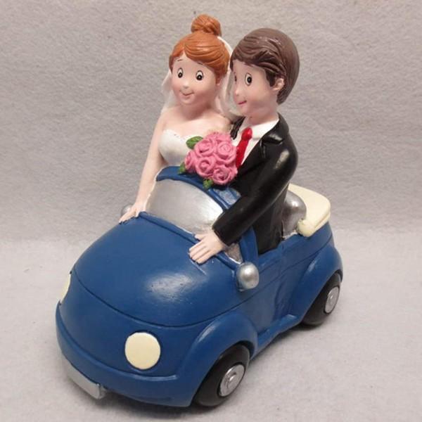 Spardose Hochzeitspaar im Auto, blau